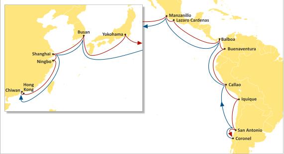 地中海航运将提供12艘船完成墨西哥,南美西海岸和中美洲周班服务.